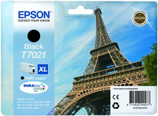 (Origineel Epson) T7021 inktcartridge zwart high capacity 45,2ml 2.400 pagina's 1-pack