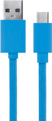 XQISIT Cotton Cable USB C 3.0 to USB A 180cm blue